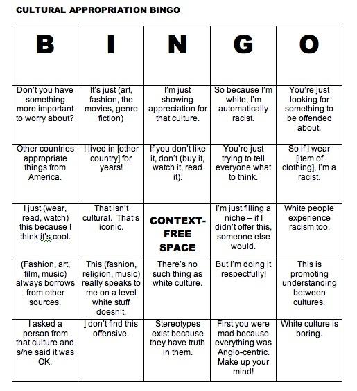 Cultural Appropriation Bingo Card